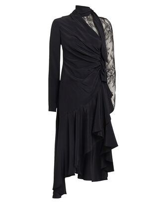 Lace Sleeve Ruffled Satin Dress, BLACK, hi-res