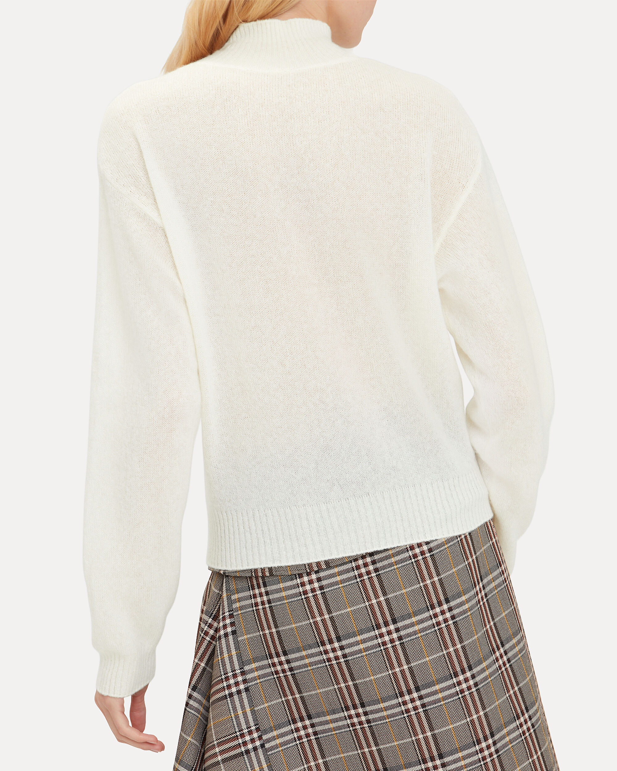 Brushed Cashmere Ivory Sweater, IVORY, hi-res