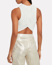 Cropped Rib Knit Top, WHITE, hi-res