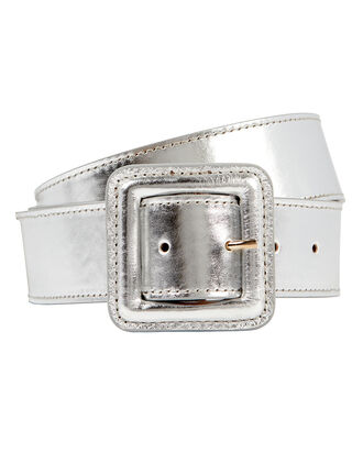 Aluma Metallic Leather Belt, SILVER, hi-res