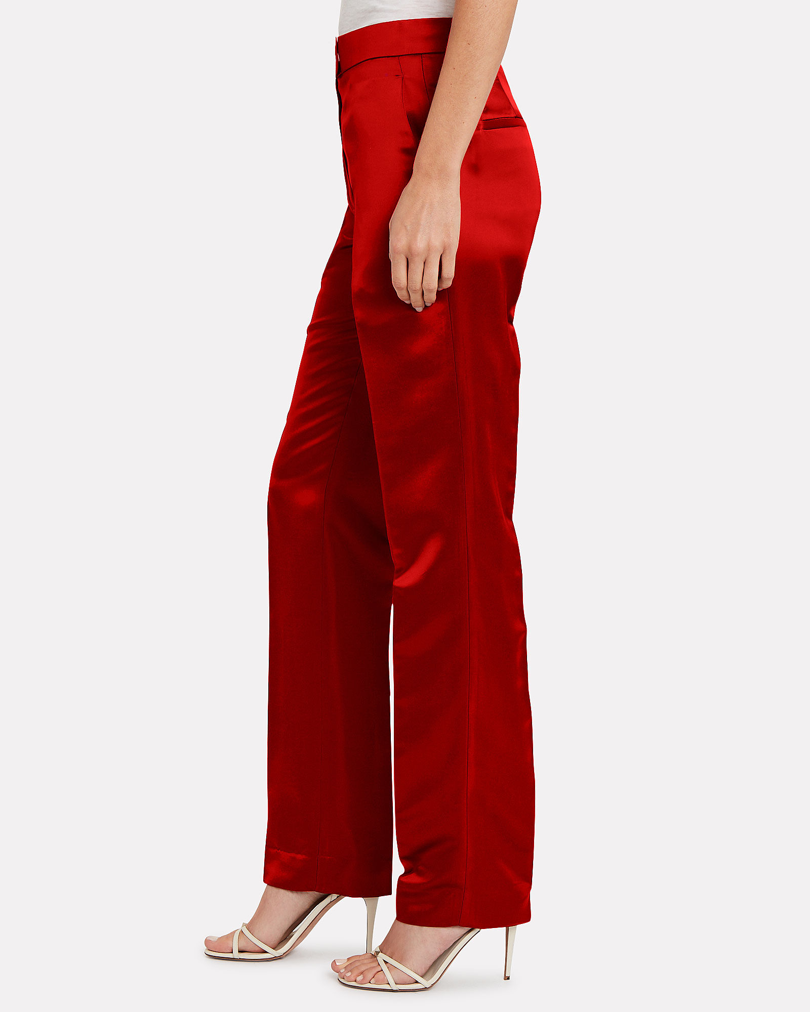 High-Rise Satin Straight Leg Trousers, RED, hi-res