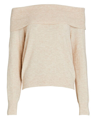 Marjory Off-The-Shoulder Sweater, BEIGE, hi-res