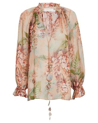 Candescent Floral Chiffon Blouse, BLUSH, hi-res