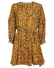 Floral Godet Belted Dress, ABSTRACT YELLOW, hi-res