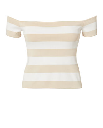 Off Shoulder Striped Top, MULTI, hi-res