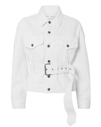 Belted White Denim Jacket, WHITE, hi-res