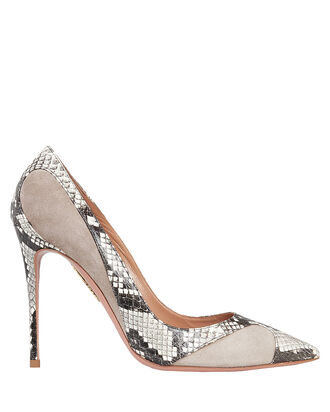 Suede and Python-Embossed Pumps, GREY, hi-res