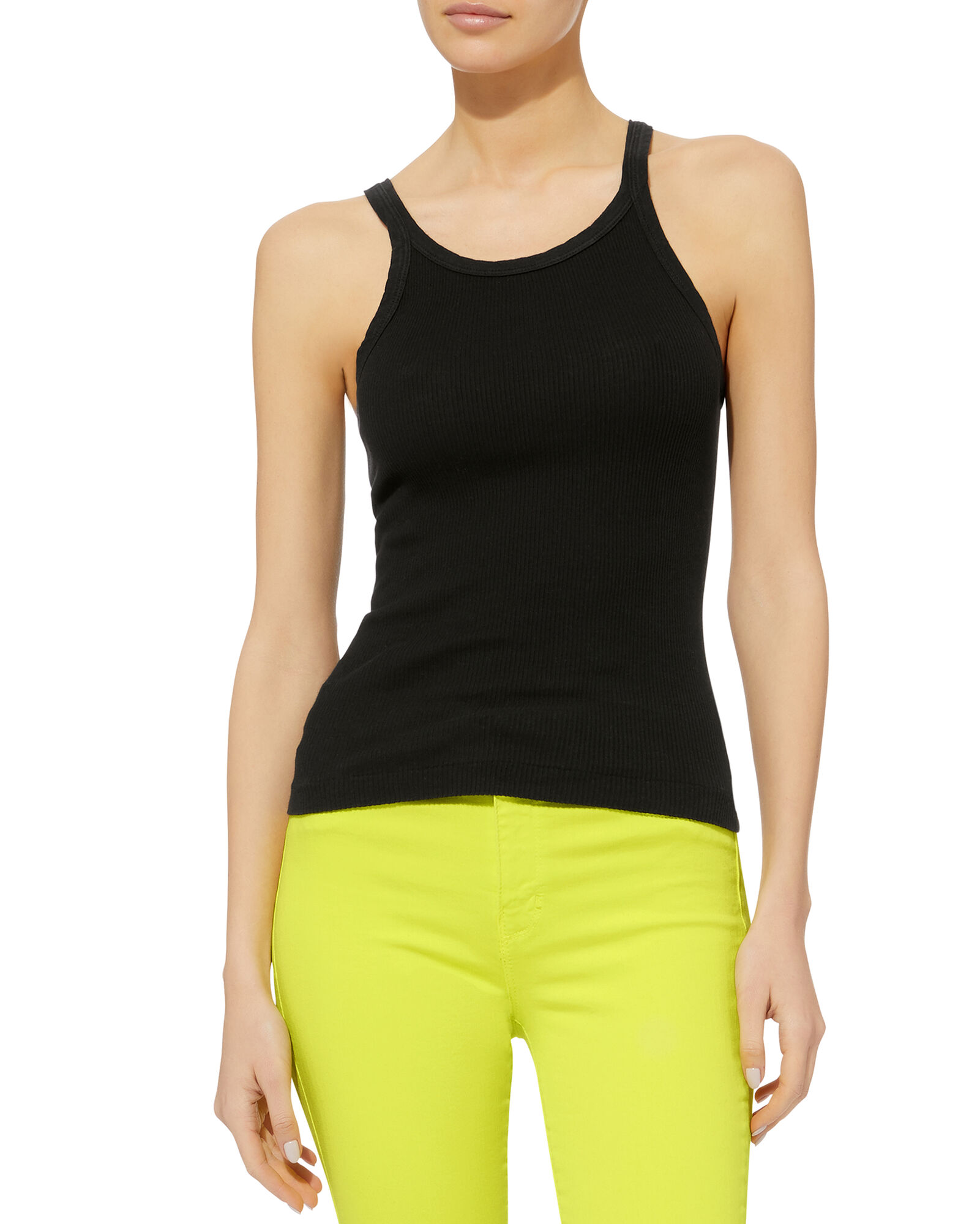 Ribbed Black Tank, BLACK, hi-res