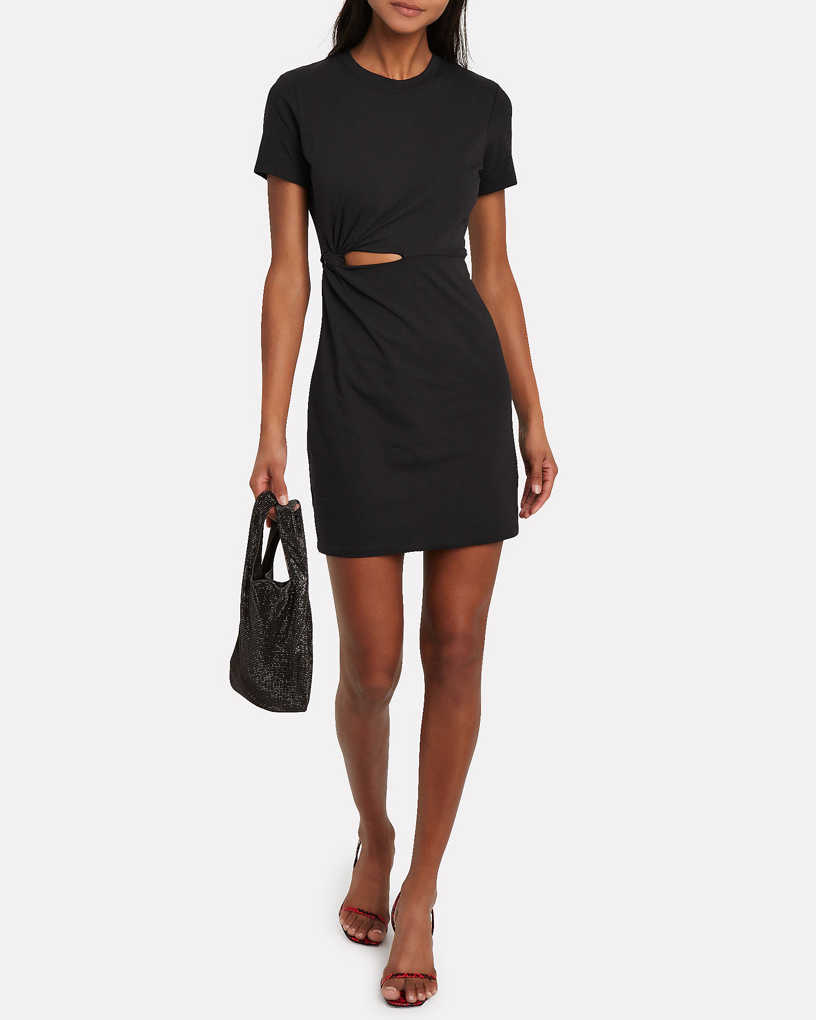 Twisted Cut-Out Jersey Dress, BLACK, hi-res