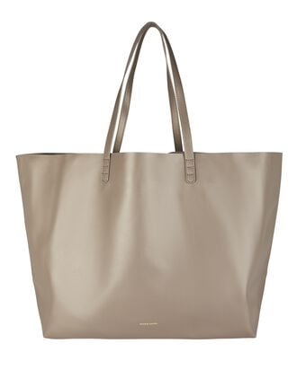 Oversized Leather Tote Bag, GREY, hi-res
