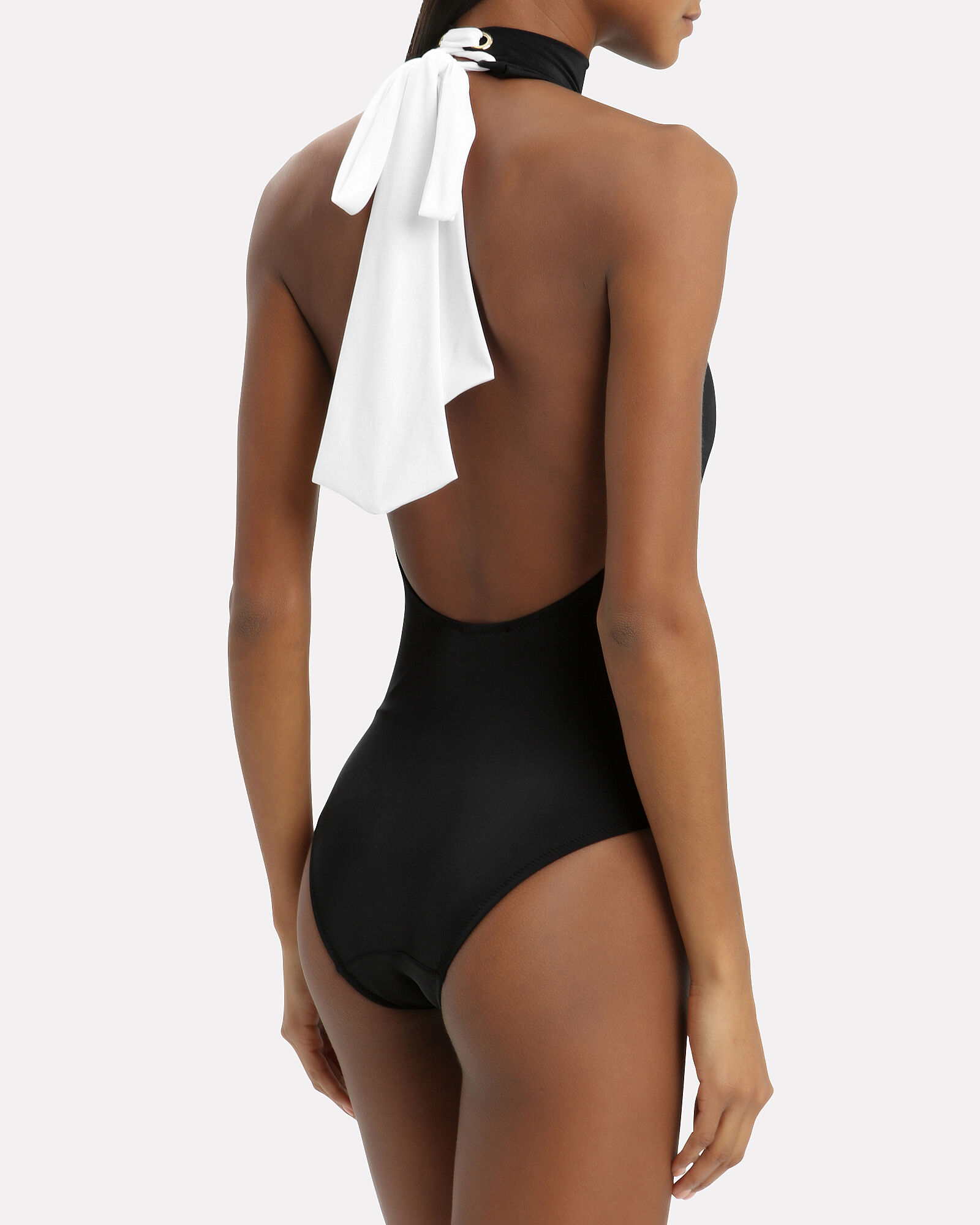 Contrast Bow Back Swimsuit, BLACK, hi-res