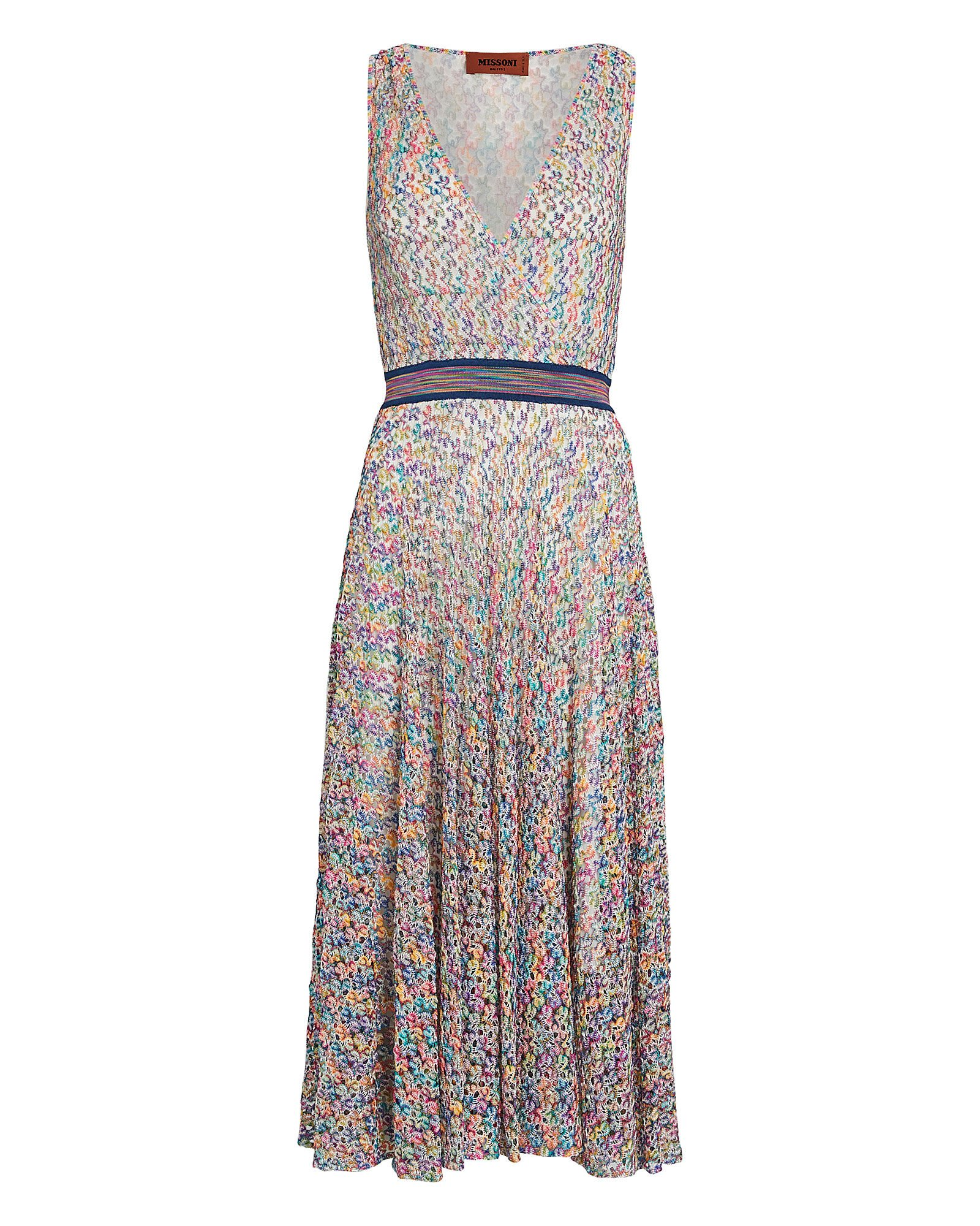 Rainbow Knit Faux-Wrap Dress, MULTI, hi-res