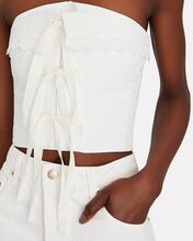 Strapless Eyelet Bustier Top, WHITE, hi-res