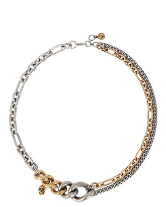 Mixed Metal Chain Choker Necklace, SILVER/GOLD, hi-res