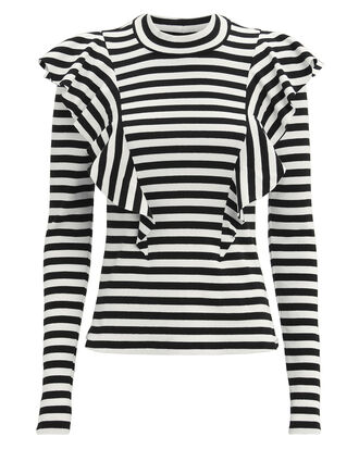 Dawson Striped Ruffle Knit Top, BLACK/WHITE, hi-res
