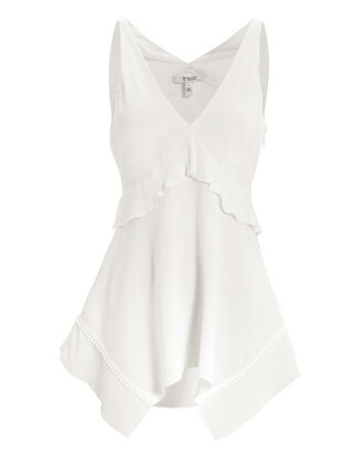 Ruffle Detail Deep Neck Cami Top, WHITE, hi-res