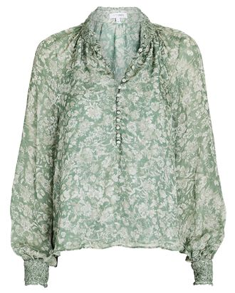 Perry Floral Silk Blouse, GREEN, hi-res