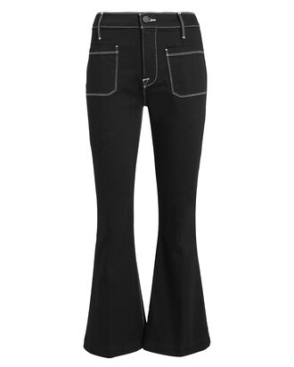 Bardot Flare Contrast Stitch Jeans, BLACK DENIM, hi-res