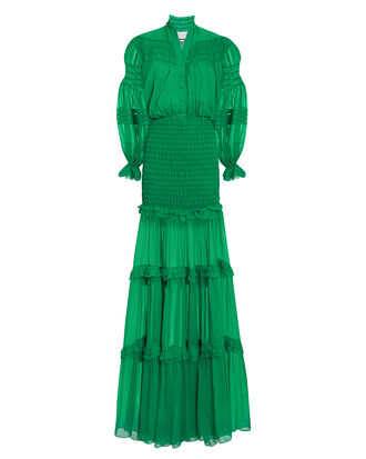 Sinclair Ruffle Gown, GREEN, hi-res