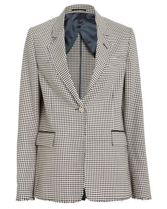 Golden Checked Wool-Cotton Blazer, BLACK/WHITE, hi-res