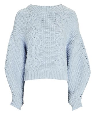 Willow Cable Knit Sweater, LIGHT BLUE, hi-res