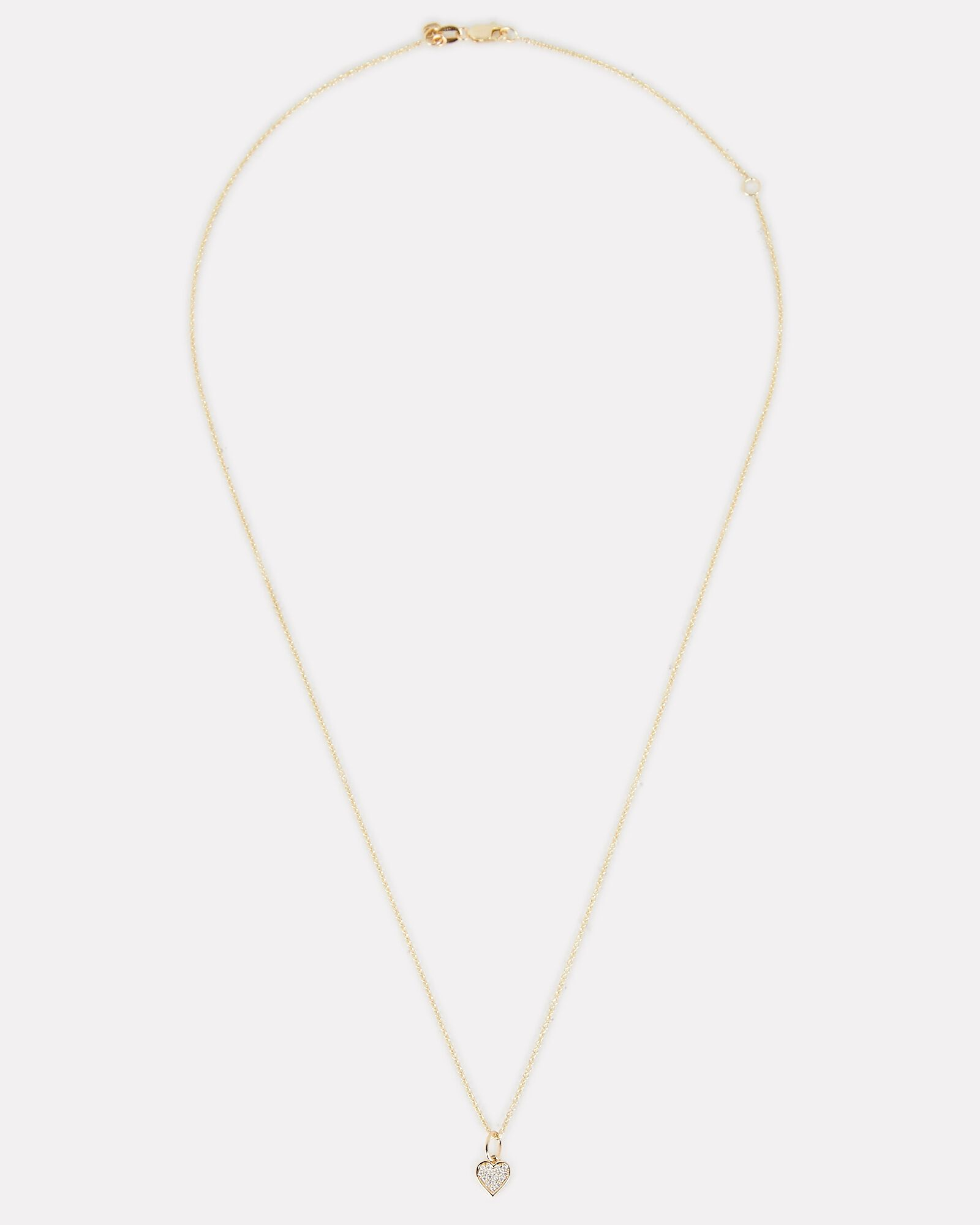 Baby Heart Charm Necklace, GOLD, hi-res