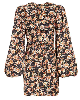Waterman Balloon Sleeve Floral Dress, BLACK/BEIGE, hi-res