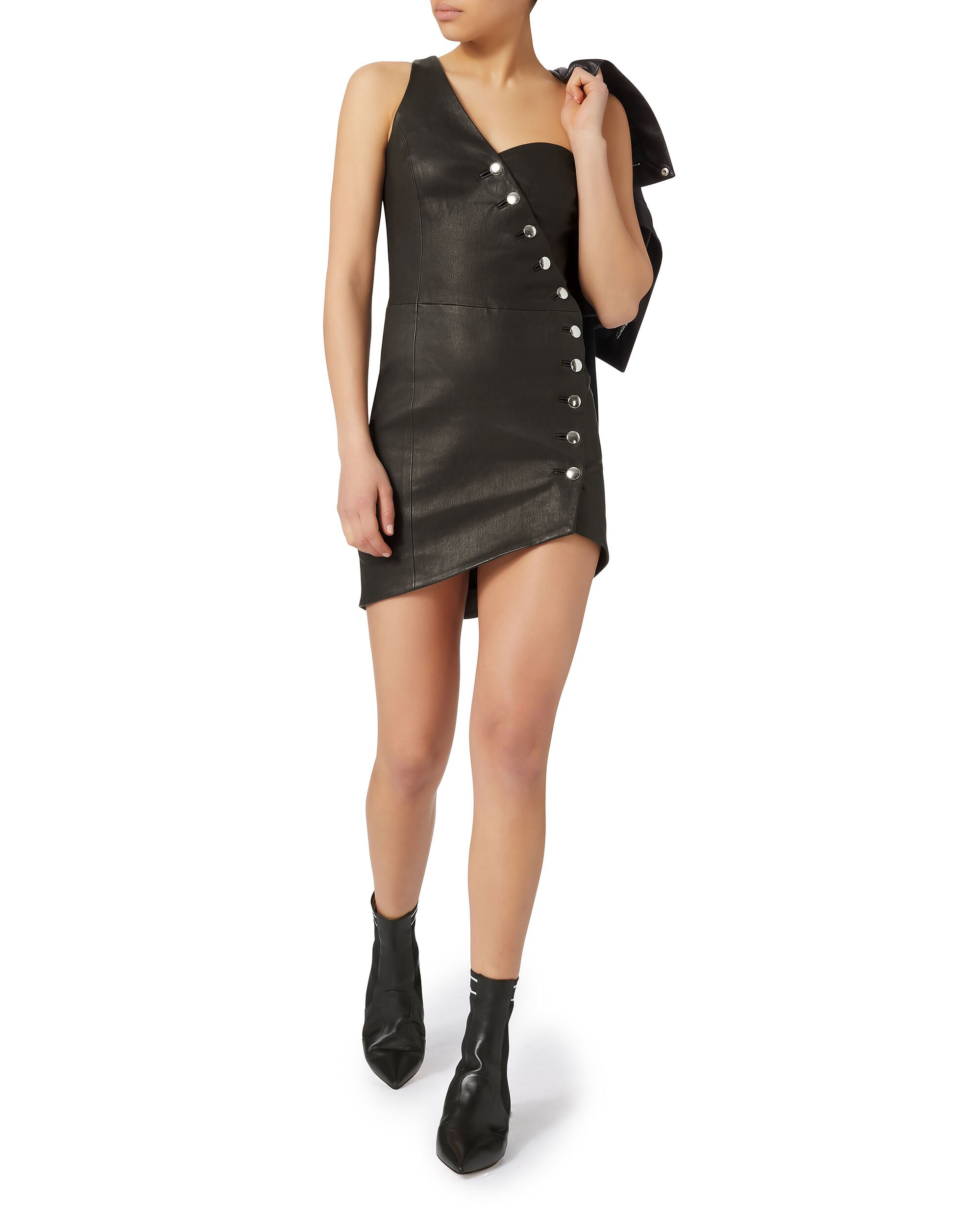 Clemay Leather Dress, BLACK, hi-res