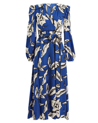 Mclean Floral Wrap Midi Dress, BLUE/FLORAL, hi-res