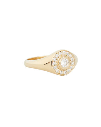Halo Signet Ring, GOLD, hi-res