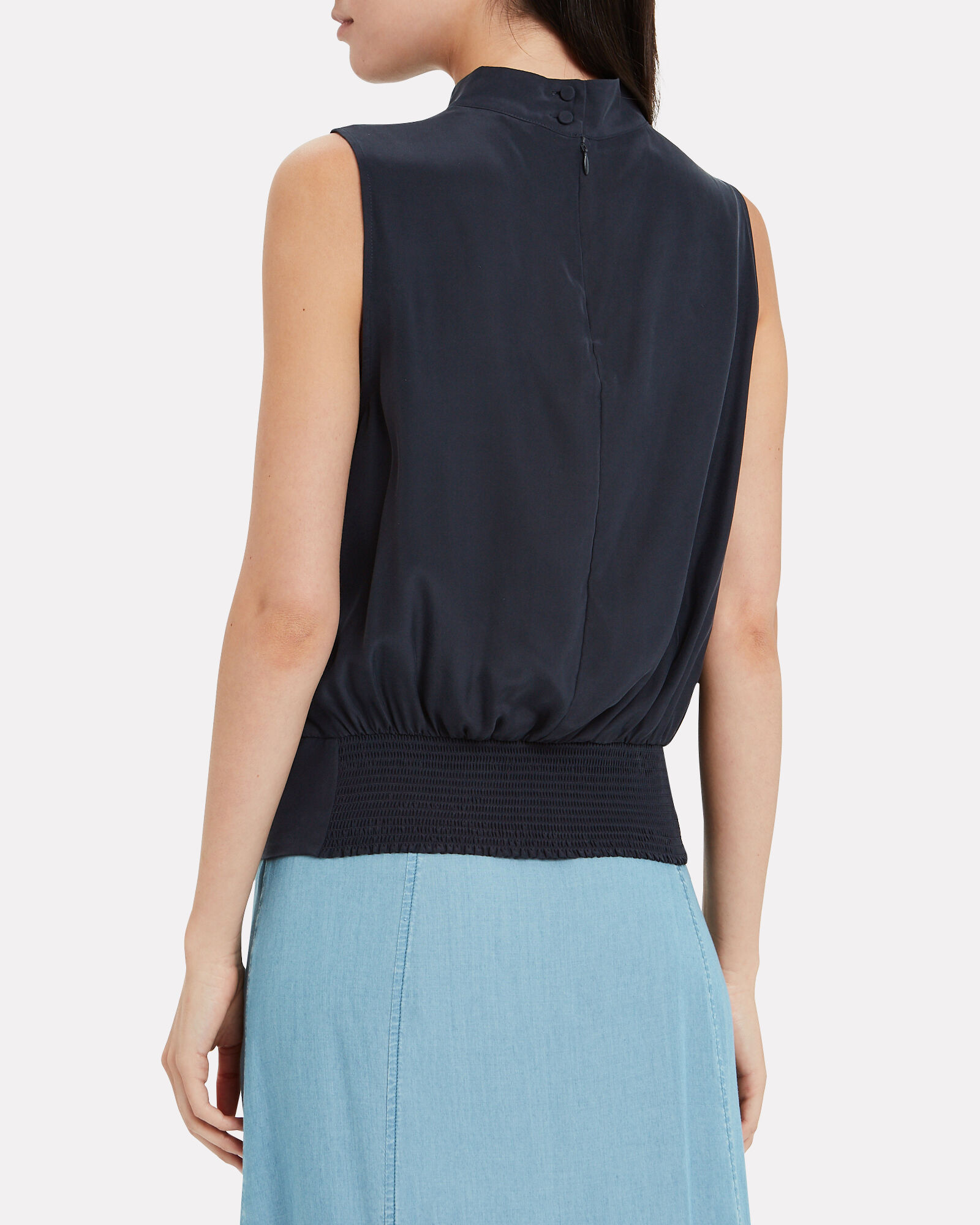 Party Silk Sleeveless Blouse, NAVY, hi-res