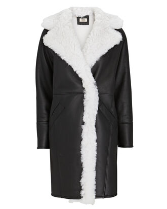 Shearling-Trimmed Leather Coat, BLK/WHT, hi-res