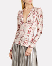 Floral Satin Long Sleeve Blouse, PINK, hi-res