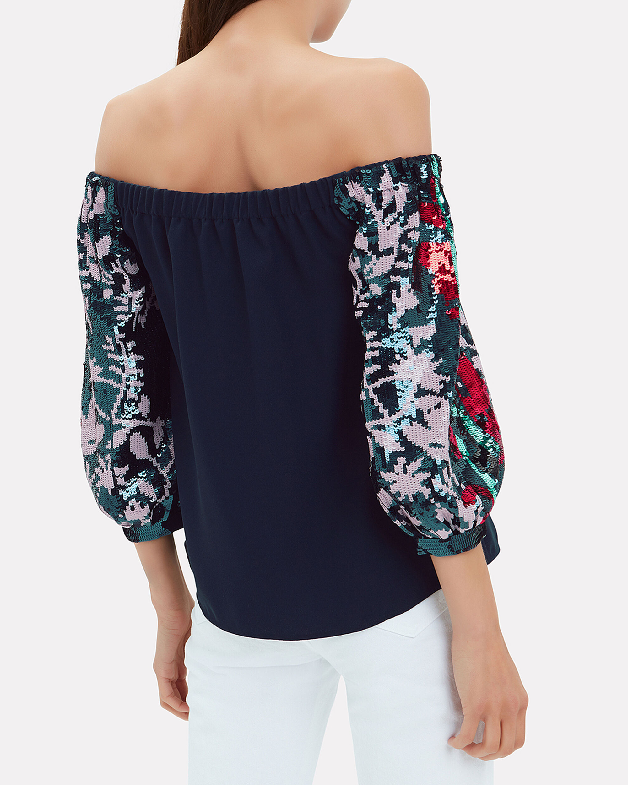 Nina Off Shoulder Sequin Sleeve Top, NAVY, hi-res