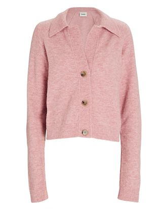 Cade Wool-Blend Polo Cardigan, PINK, hi-res