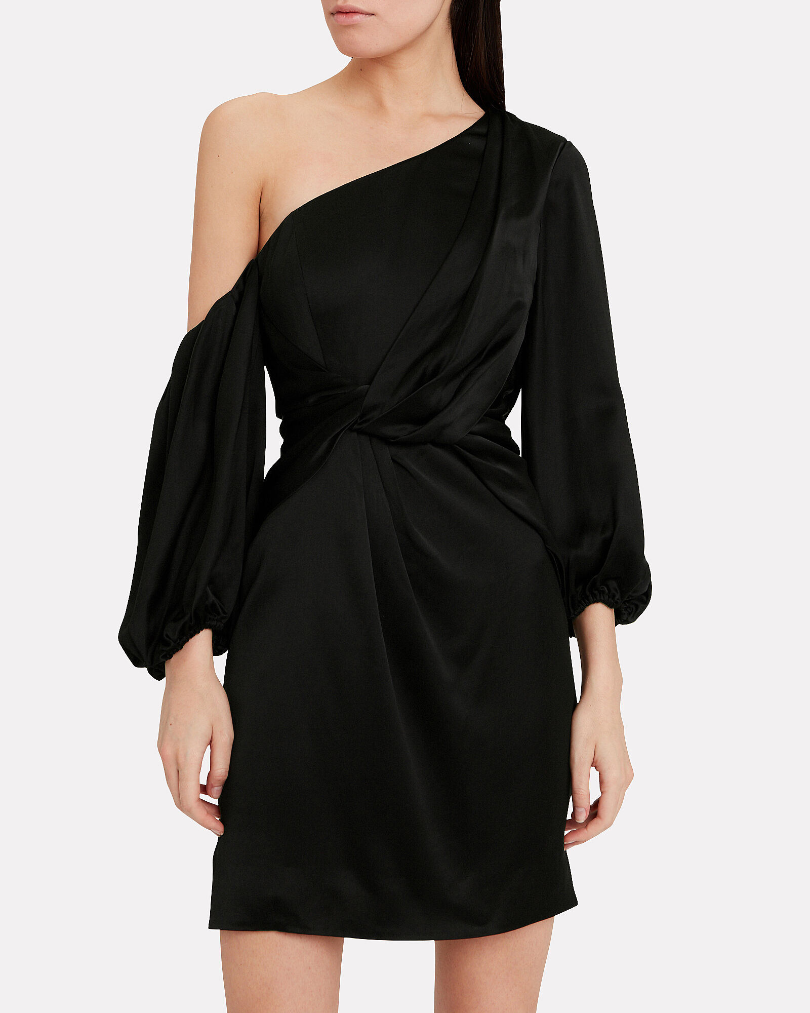 Alessandra Satin Mini Dress, BLACK, hi-res