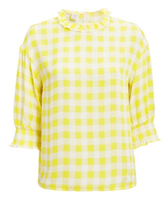 Mere Yellow Gingham Top, YELLOW, hi-res