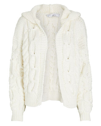 Sikan Hooded Cable Knit Cardigan, WHITE, hi-res