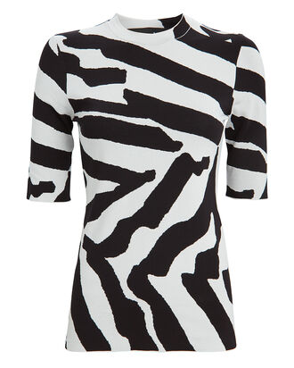 Zebra Jacquard Knit Top, BLACK/WHITE, hi-res