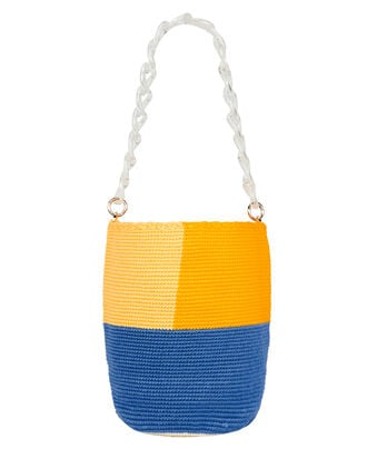 Bright Colorblock Midi Bucket Bag, BLUE/ORANGE, hi-res