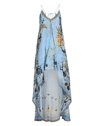 Printed Silk High-Low Dress, LIGHT BLUE, hi-res