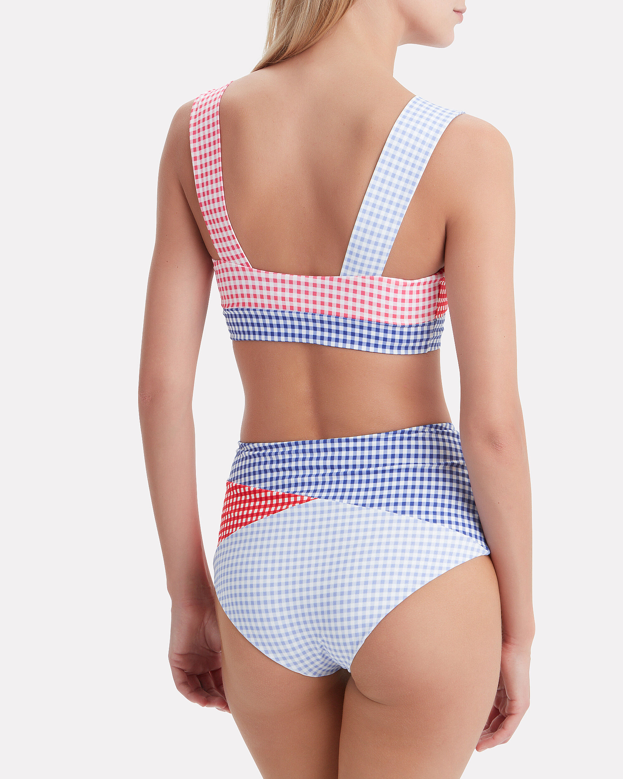 Sagaponack Gingham Bikini Top, LIGHT BLUE/NAVY/RED, hi-res