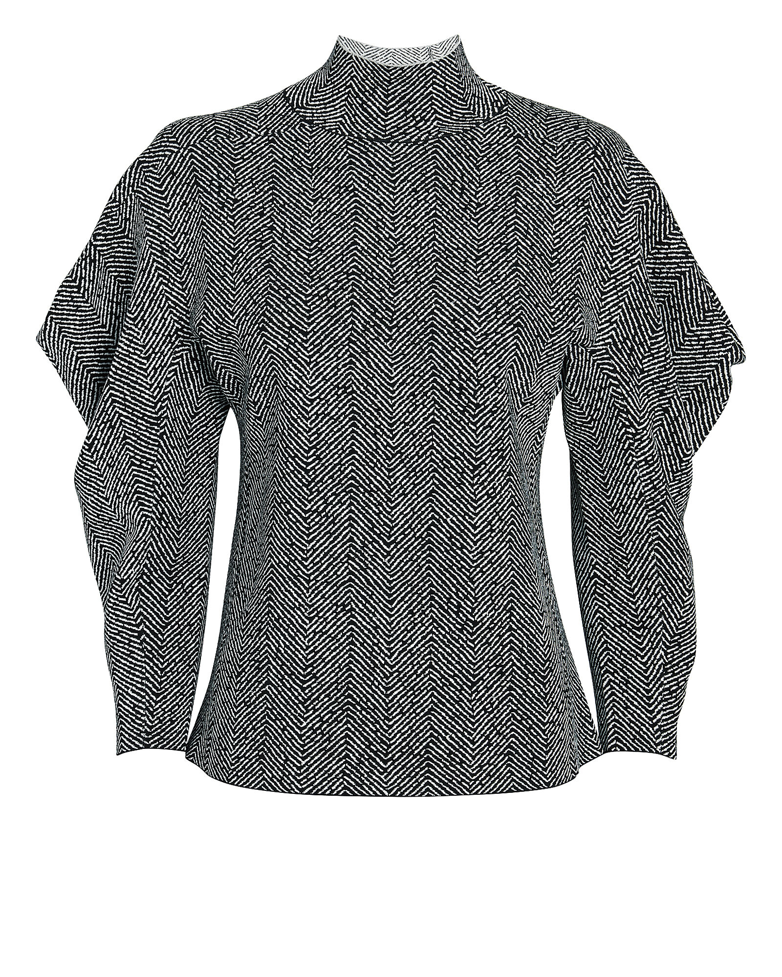 Chevron Jacquard Turtleneck Top, BLK/WHT, hi-res