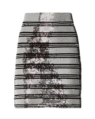 Sequin Stripe Mini Skirt, SILVER/BLACK, hi-res