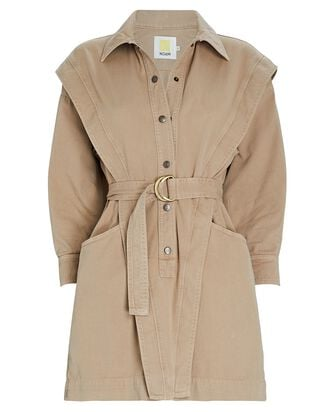 Jeanne Belted Mini Shirt Dress, BEIGE, hi-res