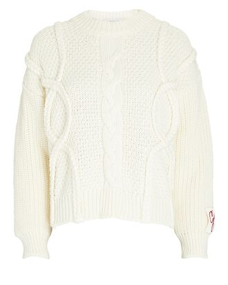 Wool Cable Knit Sweater, IVORY, hi-res