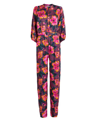 Floral Smocked Waist Jumpsuit, MULTI, hi-res