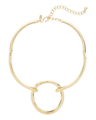 Gold-Plated Open Circle Collar Necklace, METALLIC, hi-res