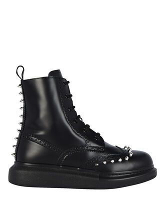 Spiked Combat Boots, BLACK, hi-res