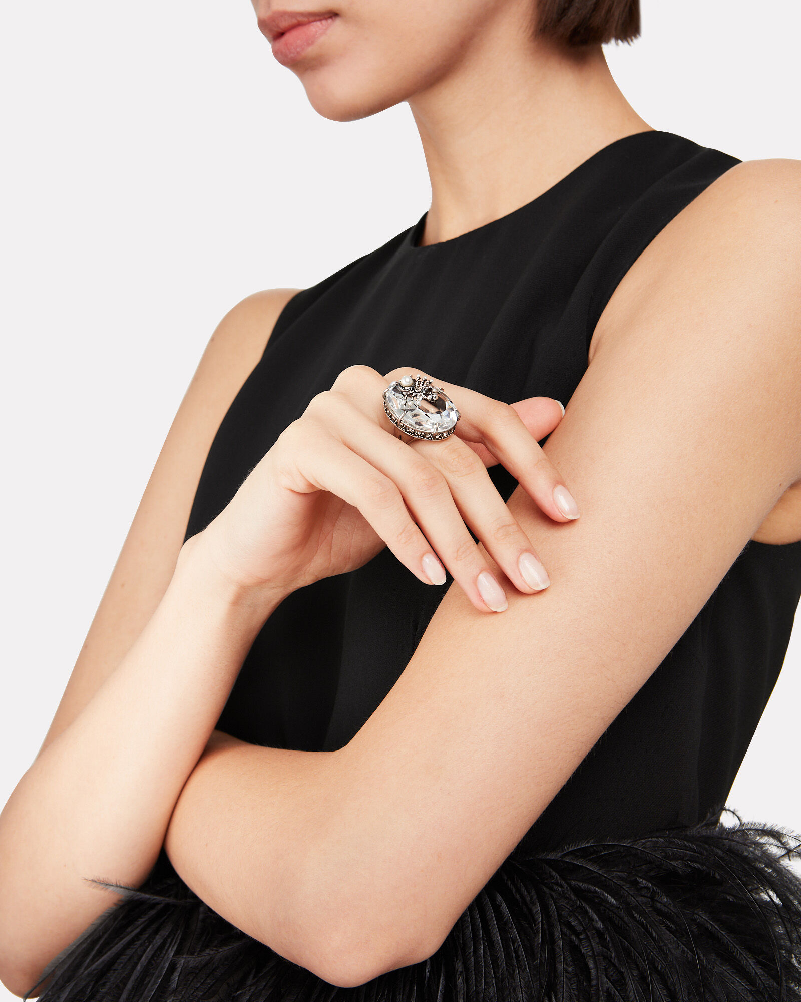Spider Crystal Cocktail Ring, CLEAR, hi-res